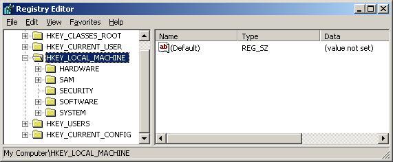 Screenshot Registry Editor di Windows XP